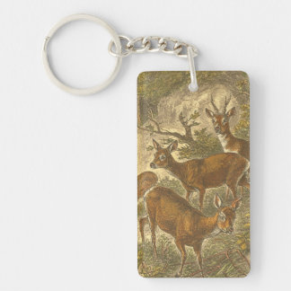 Family of Roe - Deers in a Forest Keychain