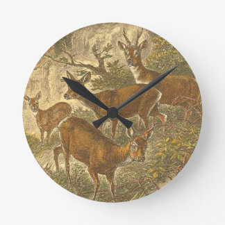 Family of Roe - Deers in a Forest Round Clock