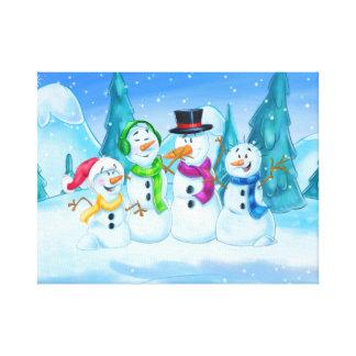 Family of snowmen on canvas