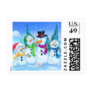 family of snowmen stamp