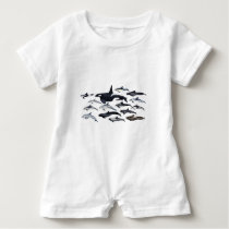 Family of the dolphins: orcas, dolphins, marsopas baby romper