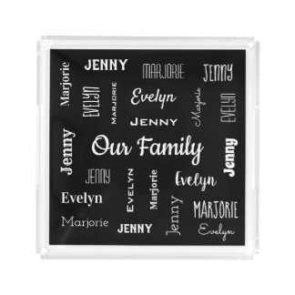 Family of Three In Cool Fonts Acrylic Tray