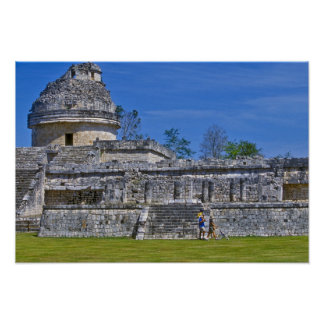 Family of tourists walk past ancient Mayan Poster