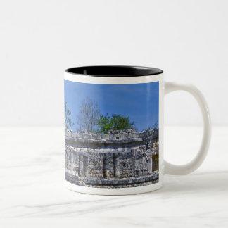 Family of tourists walk past ancient Mayan Two-Tone Coffee Mug