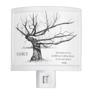Family: One Root: Gnarled Tree Pencil Drawing Night Light
