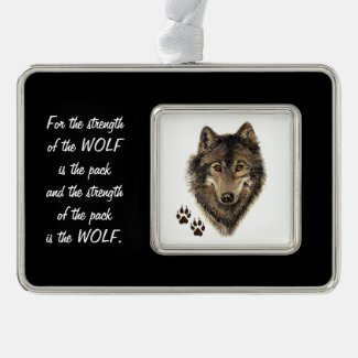 Family Pack Strength Quote Wolf Head Animal Art Silver Plated Framed Ornament