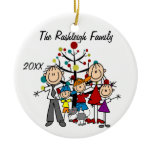 Family Parents, Two Boys, Girl, Cat Ornament