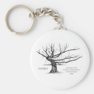 FAMILY: Pencil Art: Gnarly Old Tree: Family Ties Basic Round Button Keychain