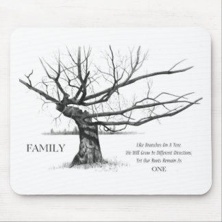 FAMILY: Pencil Art: Gnarly Old Tree: Family Ties Mouse Pad
