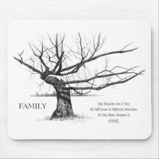 FAMILY: Pencil Art: Gnarly Old Tree: Family Ties Mousepad