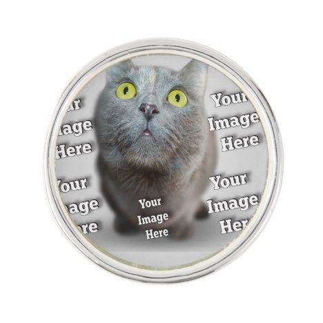 Family Pet Photo Lapel Pin