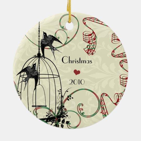 Family Photo Birds & Bird Cage on Damask Ceramic Ornament