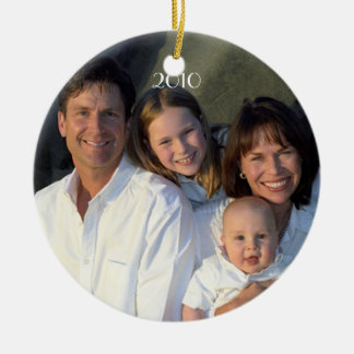 Family Photo Birds & Bird Cage on Damask Christmas Tree Ornament
