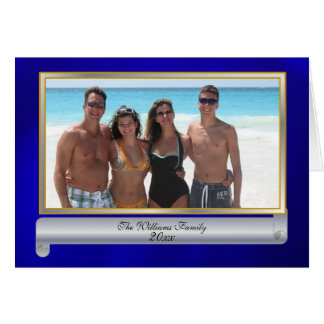 Family Photo Blue and Silver Beach Christmas Card