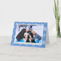 Family Photo Blue Merry Christmas Snowflakes Holiday Card