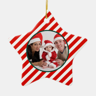Family Photo Candy Cane Star Ornament