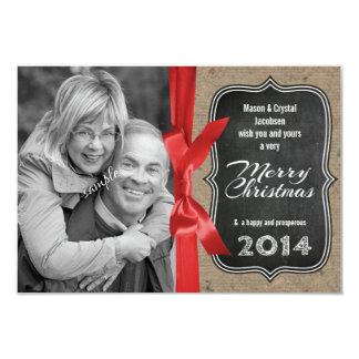 Family Photo Chalkboard and Ribbon Christmas Card