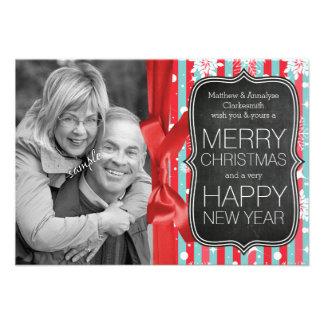 Family Photo Chalkboard and Ribbon Christmas Invite