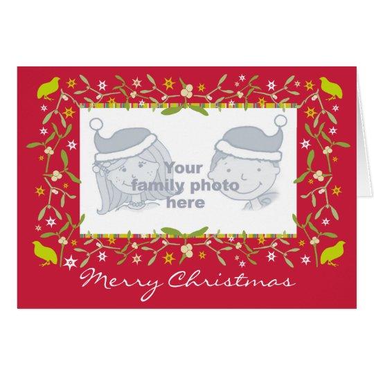 Family photo christmas card mistletoe and stars