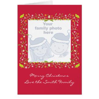 Family photo christmas card red mistletoe & stars