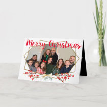 Family Photo Christmas Gold Geometric Frame Holiday Card