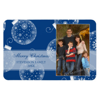 Family Photo Christmas Magnet Blue Decorations