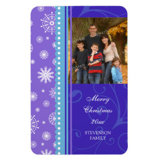 Family Photo Christmas Magnet Blue Purple Snow