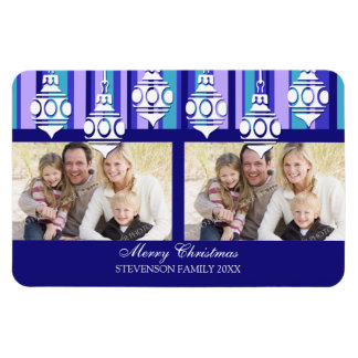 Family Photo Christmas Magnet Blue Stripes