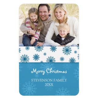 Family Photo Christmas Magnet Blue White Snow