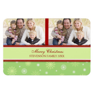 Family Photo Christmas Magnet Green & Red