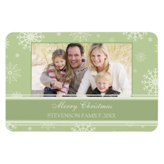 Family Photo Christmas Magnet Green Snow