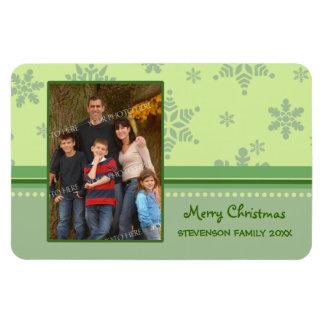 Family Photo Christmas Magnet Green Snow