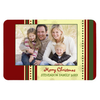 Family Photo Christmas Magnet Red Green Yellow