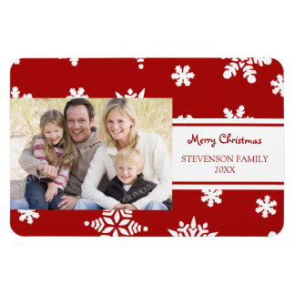 Family Photo Christmas Magnet Red White Snow