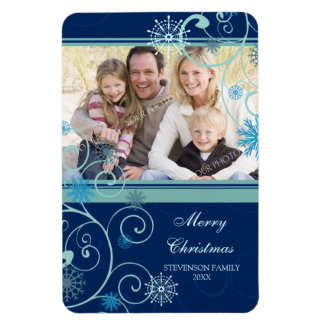 Family Photo Christmas Magnet Snow & Swirls