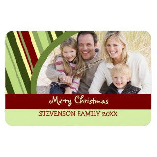 Family Photo Christmas Magnet Stripes