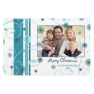 Family Photo Christmas Magnet Swirls & Snow