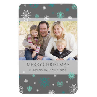 Family Photo Christmas Magnet Teal Grey Snow