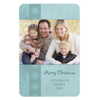 Family Photo Christmas Magnet Teal Snow