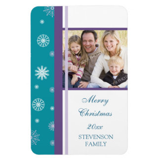 Family Photo Christmas Magnet Teal White Purple
