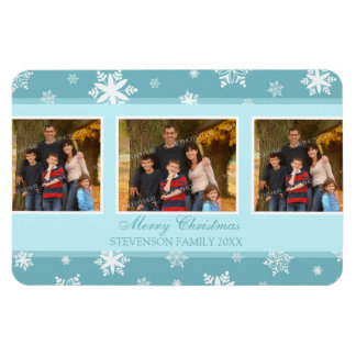 Family Photo Christmas Magnet Teal White Snow