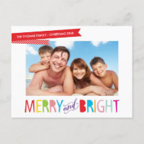 FAMILY PHOTO CHRISTMAS modern type merry & bright Holiday Postcard
