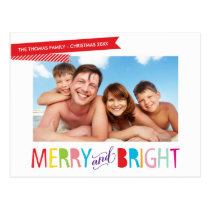 FAMILY PHOTO CHRISTMAS modern type merry & bright Postcard