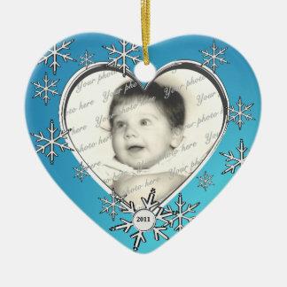 Family Photo Christmas Double-Sided Heart Ceramic Christmas Ornament