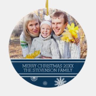 Family Photo Christmas Ornament Blue Snow