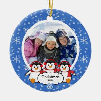 Family Photo Christmas Ornament Cute Penguins