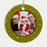 Family Photo Christmas Ornament Sage Dots