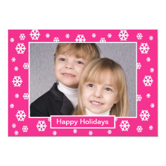 Family Photo Christmas Pink Flat Card -- Pink