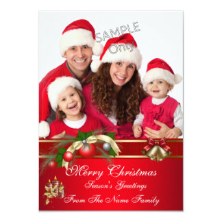 Family Photo Christmas Red Green Party Greetings Card