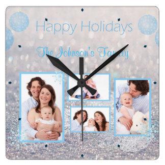 Family PHOTO Christmas Snowy Square Wall Clock